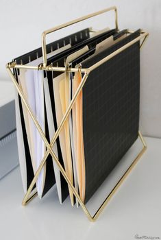 home office ideas - brass hanging file folders decor diy cubicle Office organization ideas and minimalist checklist File Folder Organization, Office Organization At Work, Office Ideas, Organization Ideas, Cubicle Organization, Cool Office Supplies, Stationary Organization, Organizing Life, Office Storage