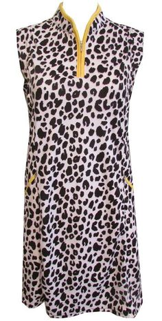 #lorisgolfshoppe Women's Golf Apparel offers a classy collection of golf skorts, shorts, dresses, and golf tops. You gotta see this Cheetah Print Bermuda Sands Ladies Sleeveless Callie Golf Dress with unique, pretty prints!