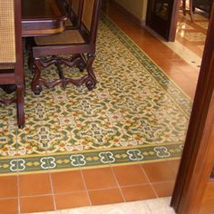Cement Tile Flooring with Pattern, Border, and Edge Tile