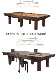 Mod. CASINO' Pool Table with Dining setup by Etrusco of Mosti Cesare.