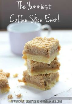 This slice is not just for coffee lovers, it is rich sweet and with 3 delicious layers it makes this slice a winner!This coffee slice is perfect to take along to a morning tea or as an afternoon treat. Be warned though it is hard to stop at one piece Coffe Recipes, My Recipes, Sweet Recipes, Baking Recipes, Dessert Recipes, Favorite Recipes, Recipies, No Bake Slices, Pudding
