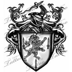 Marketplace Tattoo Lion & Sword Crest/Shield #2580 | CreateMyTattoo.com