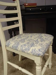 DIY reupholstering toille chair cushion, vintage french