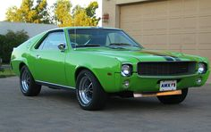 1969 Big Bad Green AMC AMX sports car - Rare original Big Bad Green mono-chrome paint - 390 CI - Largest engine offered for AMX in 1969 - Factory Go-Pack performance option - Factory Black racing stripes - HD automatic transmission - twin grip rear axle Best American Cars, American Muscle Cars, Us Cars, Sport Cars, Amc Javelin, Jaguar Xk, American Motors, Car Pictures, Mopar