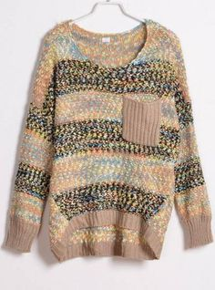 Colourful Striped Round Neck Sweater Brown$40.00