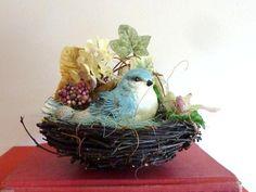 Decorative Bird Nest  Floral Birds Nest  Blue Bird