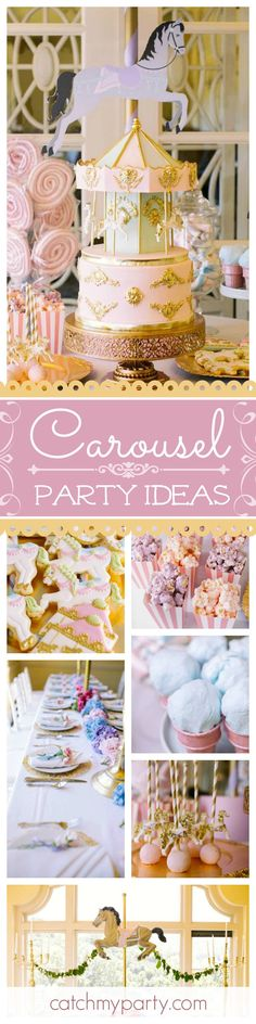 You'll be totally blown away by this gorgeous Carousel birthday party! The decorations & cake birthday are absolutely stunning!! See more party ideas and share yours at CatchMyParty.com