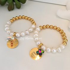 Pulseras de perlas, dije de mamá, y dije de swarovski by Luz Marina Valero