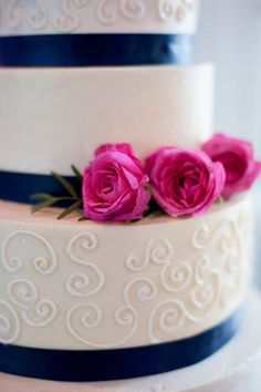 Pink and Navy Wedding Cake - I