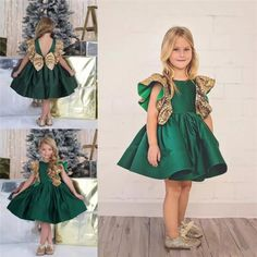 Emerald Green Little Girls Birthday Dress Knee Length 2017 Flower Girls' Dresses Gold Sequined Sleeves Custom Made Kids  #Affiliate