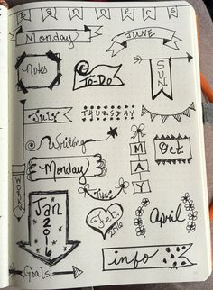 Some simple and quick ideas for banners. You don't have to be an artist to include these in your Bullet Journal! Bullet Journal Banner, Bullet Journal Junkies, Bullet Journal Inspiration, Bullet Journals, Filofax, Banners, Smash Book, Journal Pages, How To Draw Hands