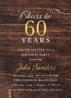 60th Birthday Invitations For Dad Ideas 60