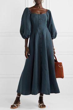 Mara Hoffman - Net Sustain Mika Tencel And Linen-blend Maxi Dress - Navy Modest Dresses, Casual Dresses, Summer Dresses, Runway Fashion, Fashion Outfits, Crop Dress, Pinterest Fashion, Couture, Rock