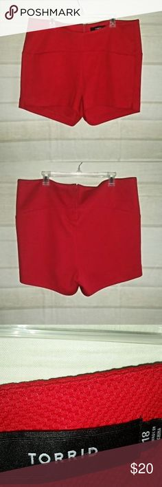 "Torrid Waffle Knit Red Shorts 18 Torrid Womens Shorts Dressy Waffle Knit Red Rear Zipper Short Shorts 96% Polyester; 4% Spandex Size 18  Waist: 21"" laying flat Rise: 11.5"" Inseam: 3""  Trusted Seller. Fast shipping.  Please check out my other listings. Items being added daily. Thanks for stopping in!  Posh By Design torrid Shorts"