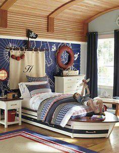 Pirate Ship Stencil Blue Dresser/Kids Bedroom Furniture/Boy ...