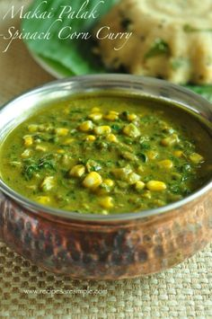 Makai Palak - Curried Corn with Spinach. healthy and really tasty curried dish. Try this simple, creamy aromatic curry that is great with upma, pulao etc. Indian Veg Recipes, Paneer Recipes, Spinach Recipes, Vegetable Recipes, Vegetarian Recipes, Cooking Recipes, Vegetarian Cooking, Sabzi Recipe, Recipes