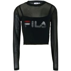 Fila Heritage T-shirt ($56) ❤ liked on Polyvore featuring tops, t-shirts, black, logo t shirts, stretch top, long sleeve stretch tee, logo tee and jersey top