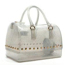 Silver glitter jelly fashion handbag Silver handbag with gold studs Fashion Bags
