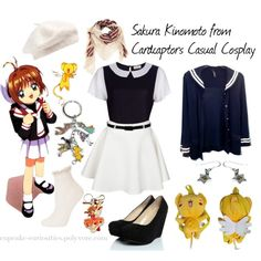Sakura Kinomoto from Cardcaptors Casual Cosplay, created by cupcake-curiosities on Polyvore