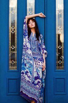 Blue and White Chinese Kaftan Dress - Designer Women s Clothing - Shahida  Parides® Caftan Dress 8a4246209