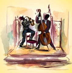 illustration Jazz band with dancers Canvas Wrap by MarkaCanvas, $99.00