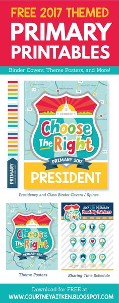 2017 Free Primary Printables: Choose the Right (All Things Bright and Beautiful)