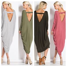 - SO STUNNING! - backless dress, v neck front. - Excellent quality dress! 95% Rayon 5% Spandex. - MADE IN THE USA! - Availability 2S 2M 2L. - COLOR AVAILABILITY: Black, Dark Grey, Heather Gray and Pin