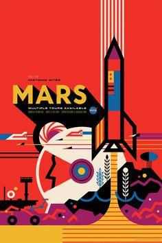 La NASA y el Laboratorio de Propulsión a Chorro (JPL) no solo se dedican a la investigación espacial. Dentro del JPL hay un estudio de diseño cuya labor es imaginar lo que aún no es posible para ayudar a los investigadores a hacerlo posible. De los geniales miembros de ese estudio han salido estos 14 preciosos carteles de turismo espacial.