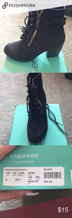 Size 8 laceup combat bootie black and gold maurices brand size 8 Hayden laceup bootie black kinda suede feel with gold brackets. Worn a few times. Still in great condition. Maurices Shoes Combat & Moto Boots