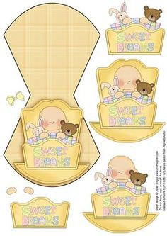 NEW BABY IN LEMON CRADLE WOBBLE CARD on Craftsuprint designed by Janet Briggs - Wobble card featuring cute new baby in cradle with teddy. Optional bow, for girl or boy. Simply cut out, score, fold and decoupage the additional elements.  - Now available for download!