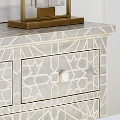 Just like her sister Liberty, the Constance Inlay Chest of Drawers is a beauty to behold. This intricately detailed piece is made from a plethora of bone pieces, delicately arranged to form stunning Art Deco patterns, and the hexagonal bone handles provid Grey Chest Of Drawers, Sutton House, Sweetpea And Willow, Tv Entertainment Units, 5 Seater Sofa, Marble Tray, Bedroom Chest, Deco Blue, Art Deco Pattern
