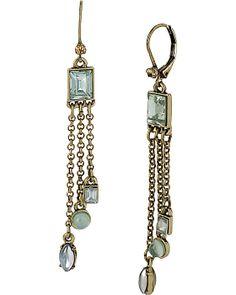 MINT 3 DROP SQUARE STONE EARRING MINT accessories jewelry earrings fashion