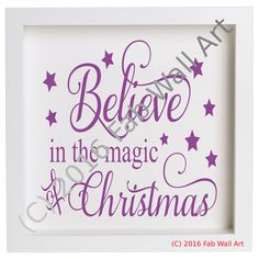 IKEA RIBBA Box Frame Personalised Vinyl Wall Art Quote Christmas Santa Believe