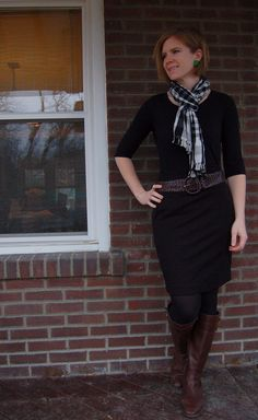 https://flic.kr/p/7Ai4Hs | 3 February 2010 | Scarf- Nepali by TDM Designs Black Pencil Skirt - Banana Republic Black Henley- Gap Black Tights - Target Brown Belt - BR Outlet Brown Boots - Banana Republic, via ebay Earrings - thrifted gift from E.  Kicking off scarf month www.academichic.com