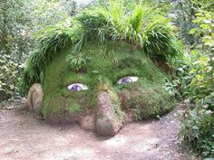 Troll head grass sculpture in Cornwall.
