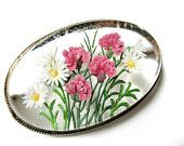 Lucite 800 SILVER Brooch Pin Art Deco Nouveau Pink Flowers Daisies