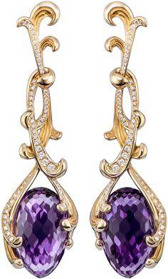 Carrera y Carrera Origen earings in yellow gold amethysts with diamonds