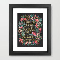 Little & Fierce on Charcoal Framed Art Print