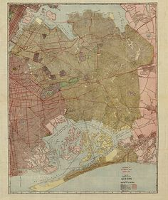 Queens borough, New York, NY vintage reproduction map. Williams Map & Guide Co 1923.  Brooklyn, Manhattan and Bronx. Brooklyn Eagle Almanac