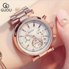 GUOU Brand Luxury Rose Gold Watch Women Watches Auto Date Women's Watches Full Steel Clock Saat Relogio Feminino Montre Femme. Yesterday's price: US $79.79 (65.97 EUR). Today's price: US $39.90 (32.94 EUR). Discount: 50%.