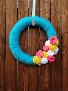14 inch Aqua Spring Yarn Wreath Easter Wreath by RockStarWreaths, $35.00