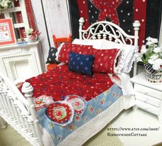Dollhouse Bed and  Red and Blue Raggy Rose by RibbonwoodCottage, $110.00
