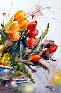 """Watercolor painting """"Red Tulips"""" by Julia Kirilina Tulip Painting, Oil Painting Flowers, Watercolor Flowers, Watercolor Artists, Watercolour Painting, Flower Art, Drawings, Artwork, Red Tulips"""