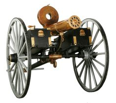 Invented in 1861 by Richard J. Gatling and based on a seed-planter that would revolutionize agriculture. It was a hand crank operated weapon which rotated six .58 caliber barrels around a central shaft.It was capable of continuous fire at a rate of 600 rounds per minute. The bullets were gravity fed from a hopper and each barrel fired 100 rounds per minute. The gun did not have tendency to heat up like an Agar gun which only had one barrel, because the barrels alternated firing.
