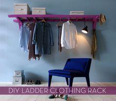 kraftykristin:    OMG! I love this! I wish I had a room big enough to do it!  (via How To: Hack a Ladder into a DIY Clothing Rack» Curbly | DIY Design Community)