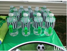 kids soccer birthday party water bottle printables