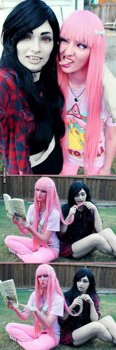 Marceline and princess bubblegum cosplay                                                                                                                                                                                 More