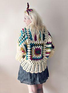 Afghan Crochet Cardigan-Cream