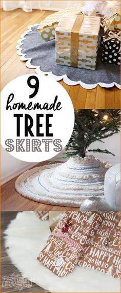 Homemade Christmas Tree Skirts. DIY felt, faux fur and fabric Christmas skirts.
