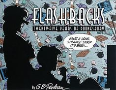 In Flashbacks, Trudeau collects his thoughts and cartoons in a highly annotated four-color book. Through its pages, Flashbacks reunites the disparate personalities that make up the cast of #Doonesbury. | http://www.andrewsmcmeel.com/books/detail?sku=9780836204360&utm_source=gc-pinterest&utm_medium=socialmarketing&utm_content=pinboard-doonesbury-flashbackstwentyfiveyearsofdoonesbury&utm_campaign=social |  #GoComics #comics #books